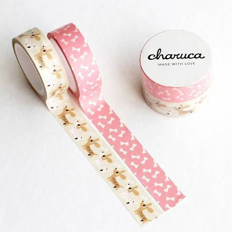 PACK DE 2 WASHI TAPE PERRITOS Y HUESOS. CHARUCA.